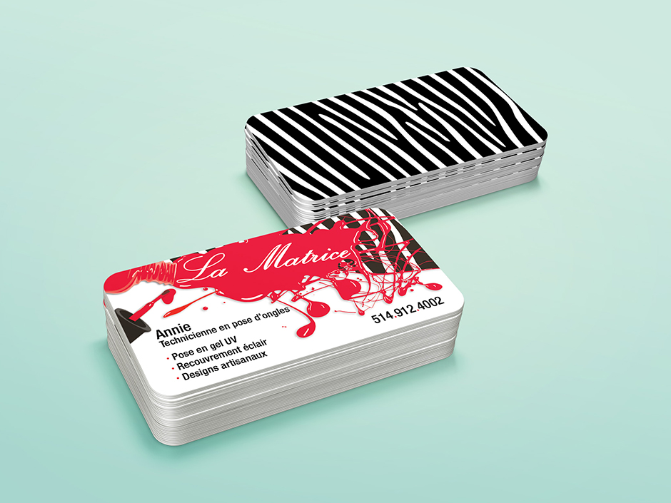 Cartes d'affaires pour La matrice, studio de pose d'ongles.