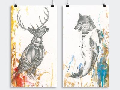 Illustrations pour un projet personnel, le chevreuil et le loup de mer.