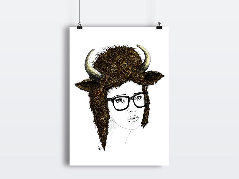 Illustration pour un projet personnel, la femme bison.