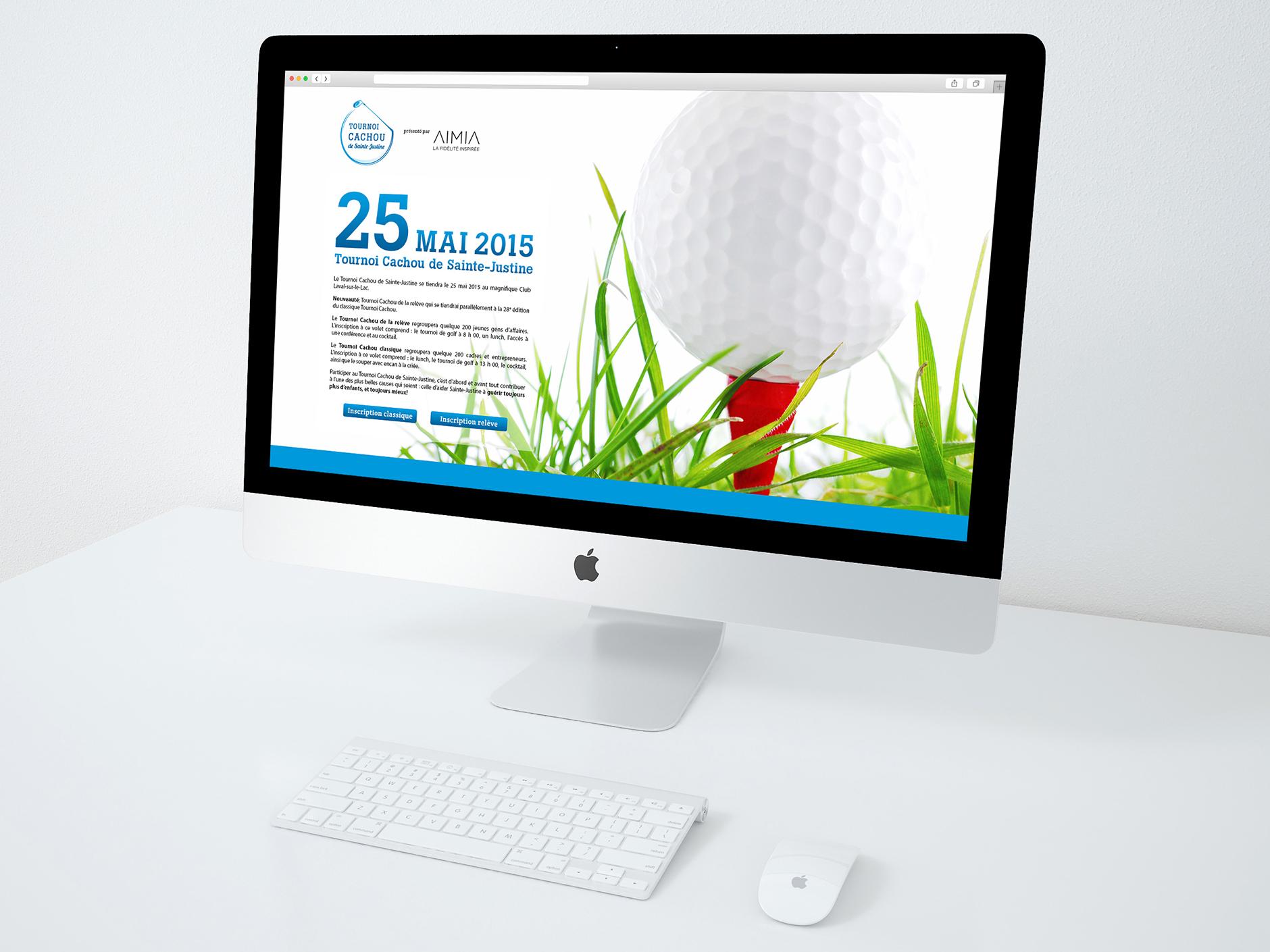 Site web du Tournoi Cachou de Sainte-Justine. Tournoi de golf annuel de la Fondation CHU Sainte-Justine.