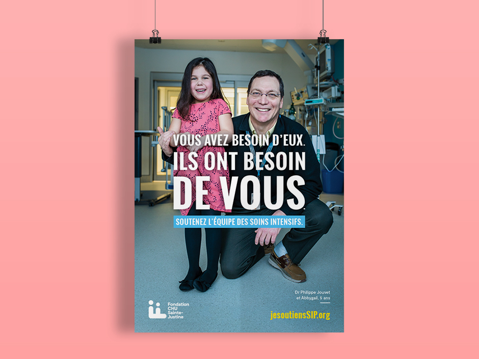 Affiche pour les soins intensifs du CHU Sainte-Justine